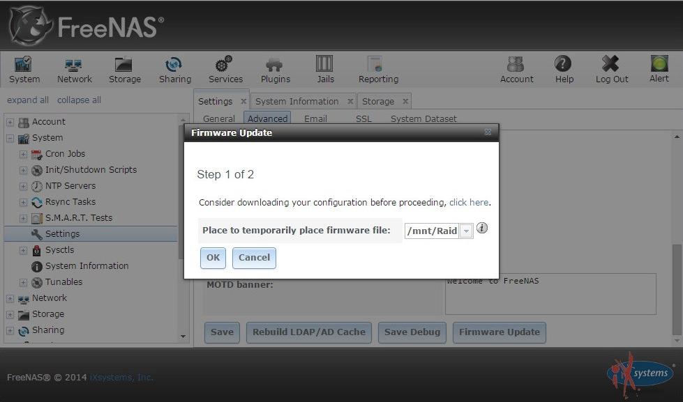 FreeNAS 版本升級| WordPress